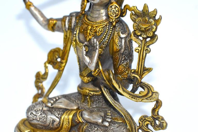 Gilded Silver Tibetan Buddha Manjushree with Sword of Wisdom For Sale 7