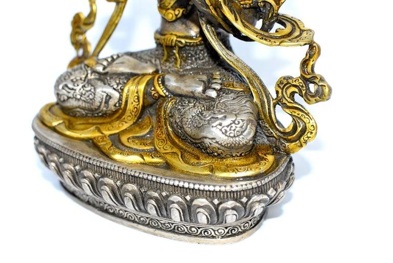 Gilded Silver Tibetan Buddha Manjushree with Sword of Wisdom For Sale 8