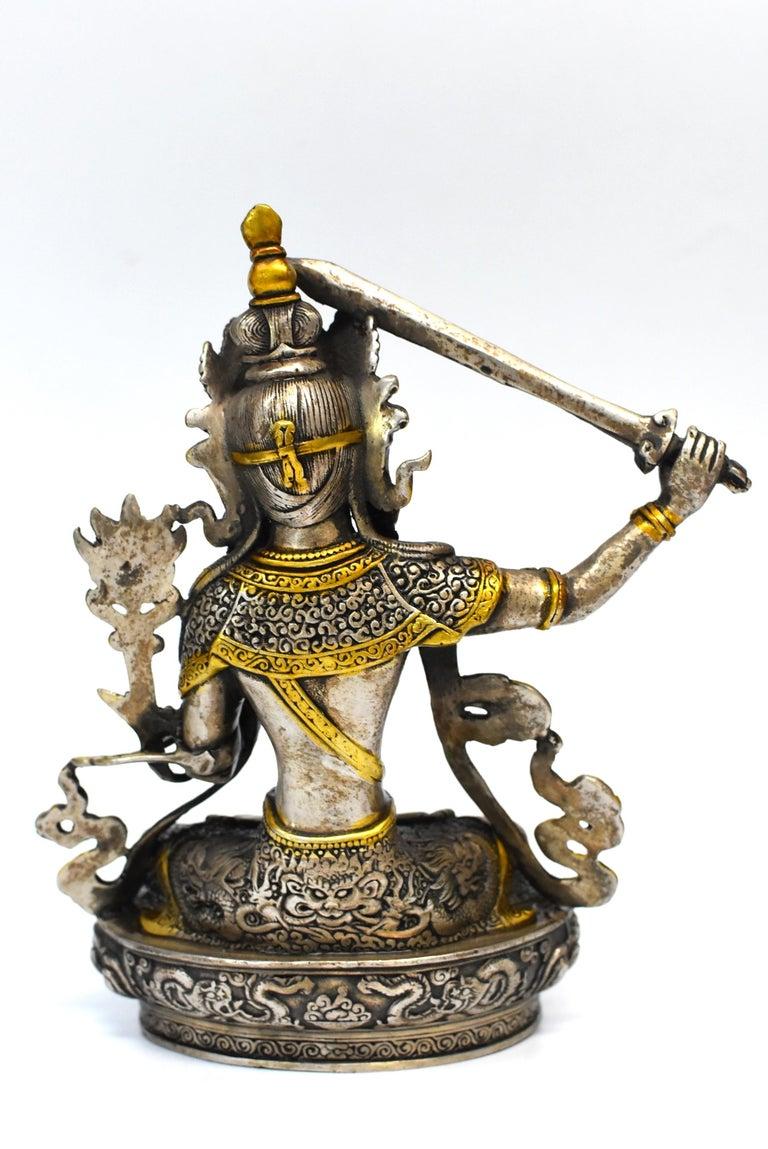 Gilded Silver Tibetan Buddha Manjushree with Sword of Wisdom For Sale 9