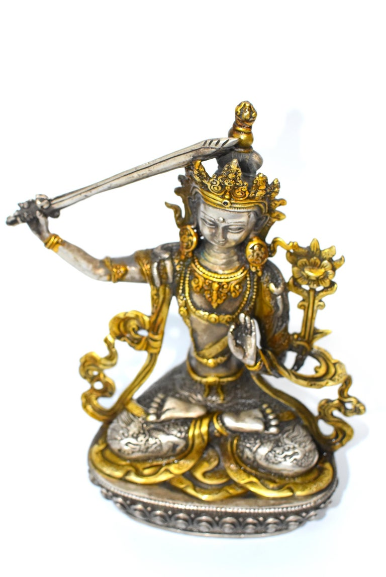Gilded Silver Tibetan Buddha Manjushree with Sword of Wisdom For Sale 10