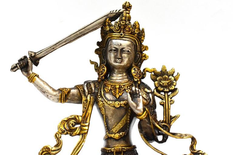 Gilded Silver Tibetan Buddha Manjushree with Sword of Wisdom For Sale 11