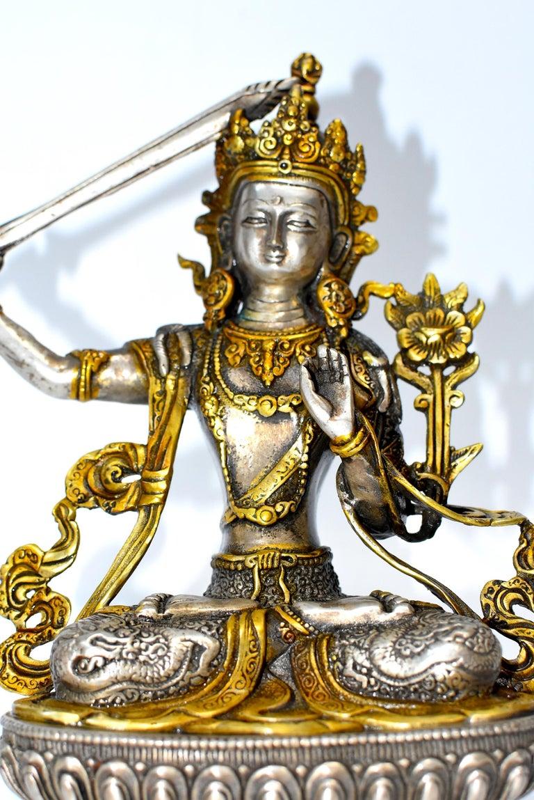 Gilded Silver Tibetan Buddha Manjushree with Sword of Wisdom For Sale 12