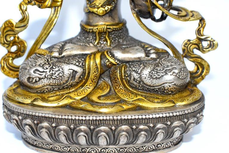 Gilded Silver Tibetan Buddha Manjushree with Sword of Wisdom For Sale 13