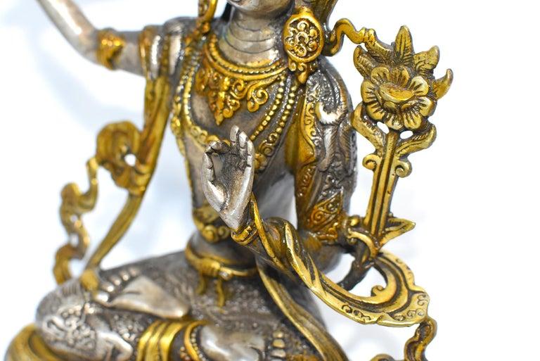 Gilded Silver Tibetan Buddha Manjushree with Sword of Wisdom For Sale 14