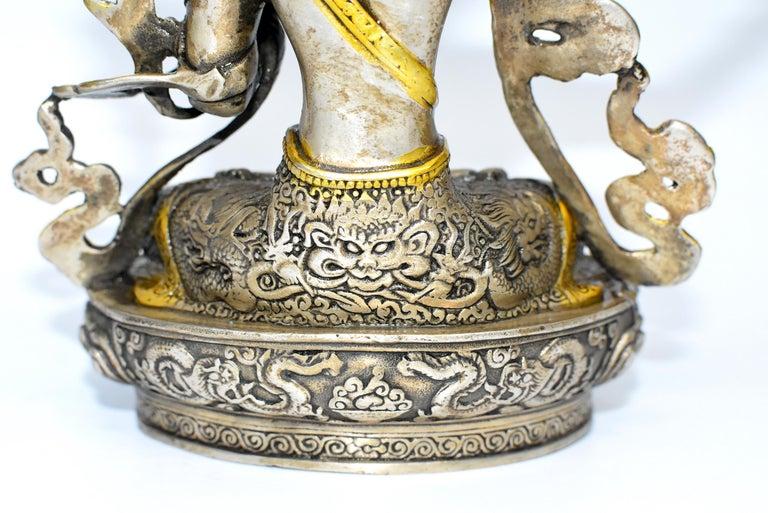 Gilded Silver Tibetan Buddha Manjushree with Sword of Wisdom For Sale 15