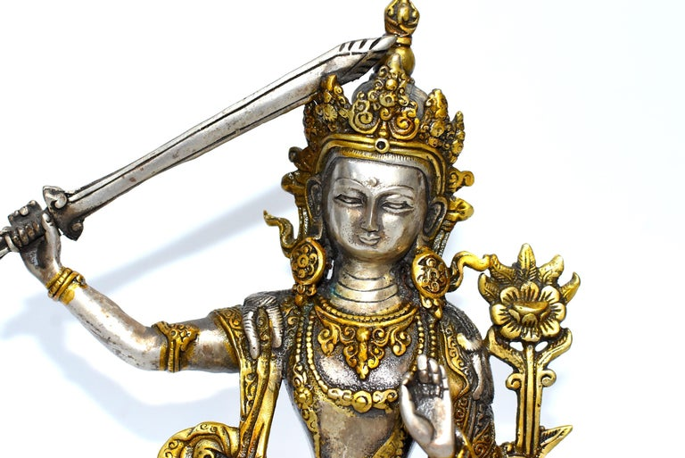 20th Century Gilded Silver Tibetan Buddha Manjushree with Sword of Wisdom For Sale