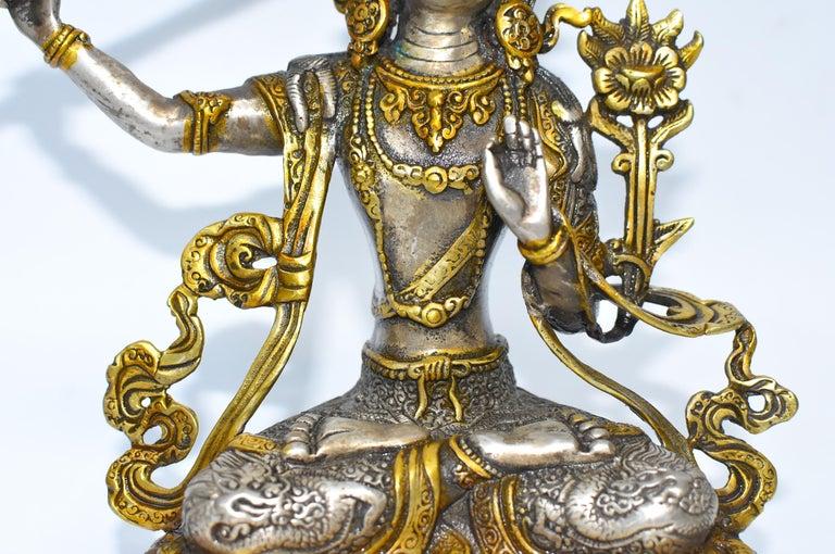 Bronze Gilded Silver Tibetan Buddha Manjushree with Sword of Wisdom For Sale