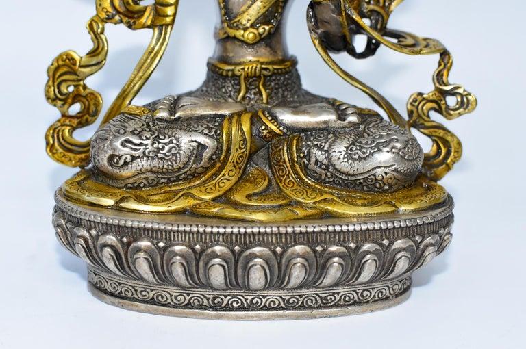 Gilded Silver Tibetan Buddha Manjushree with Sword of Wisdom For Sale 1