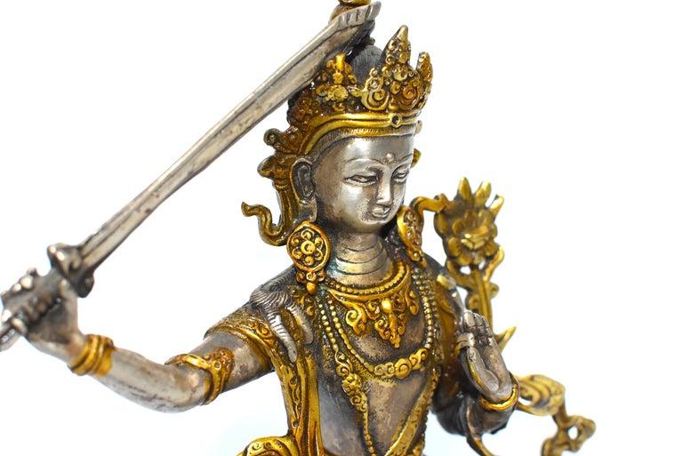 Gilded Silver Tibetan Buddha Manjushree with Sword of Wisdom For Sale 2