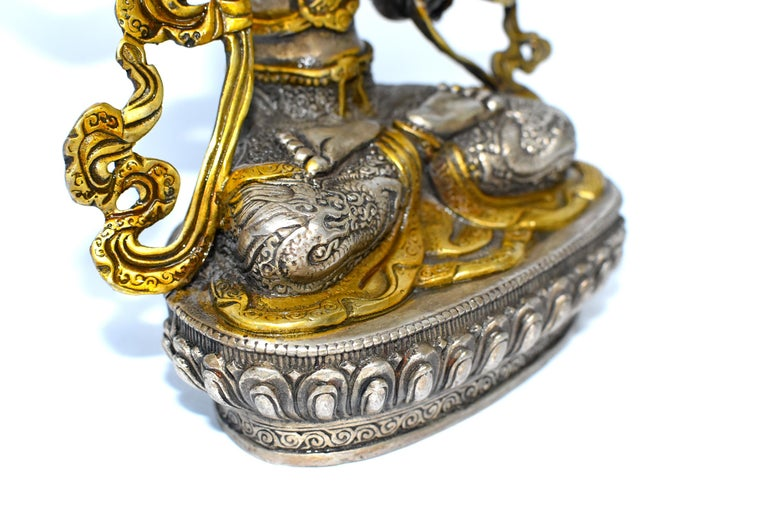 Gilded Silver Tibetan Buddha Manjushree with Sword of Wisdom For Sale 4