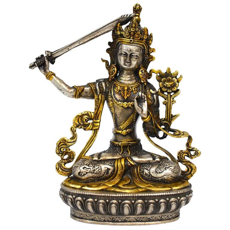 Gilded Silver Tibetan Buddha Manjushree with Sword of Wisdom For Sale