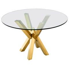 Gilded Stainless Steel and Glass Round Dining Pedestal Table