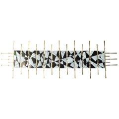 Gilded Steel Wall Sculpture with Enameled Panels by American Artist Del Williams