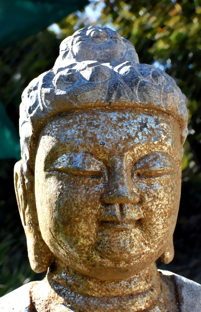 Golden Stone Buddha Statue on Lotus For Sale 5