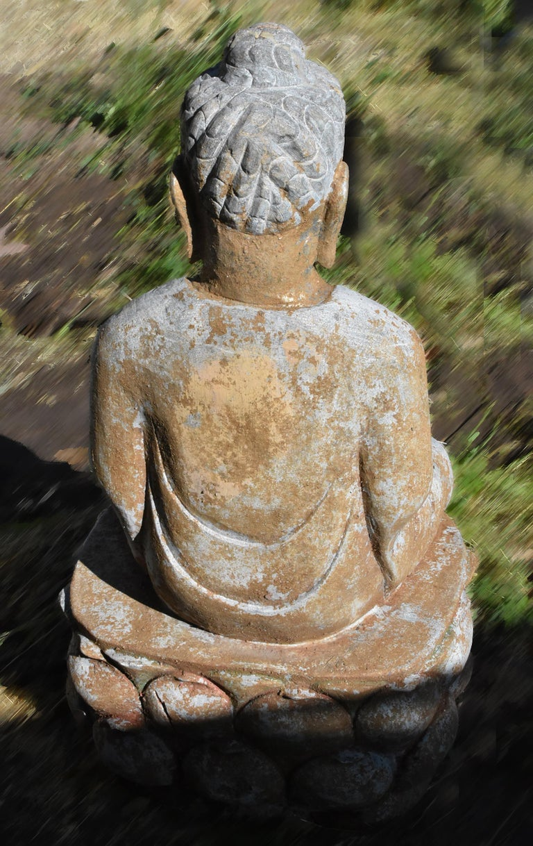 Golden Stone Buddha Statue on Lotus For Sale 8