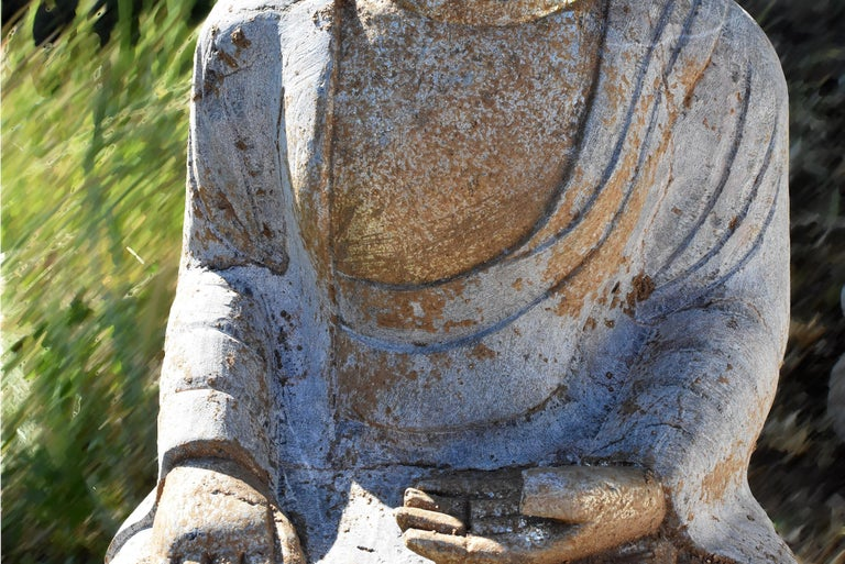 Chinese Golden Stone Buddha Statue on Lotus For Sale