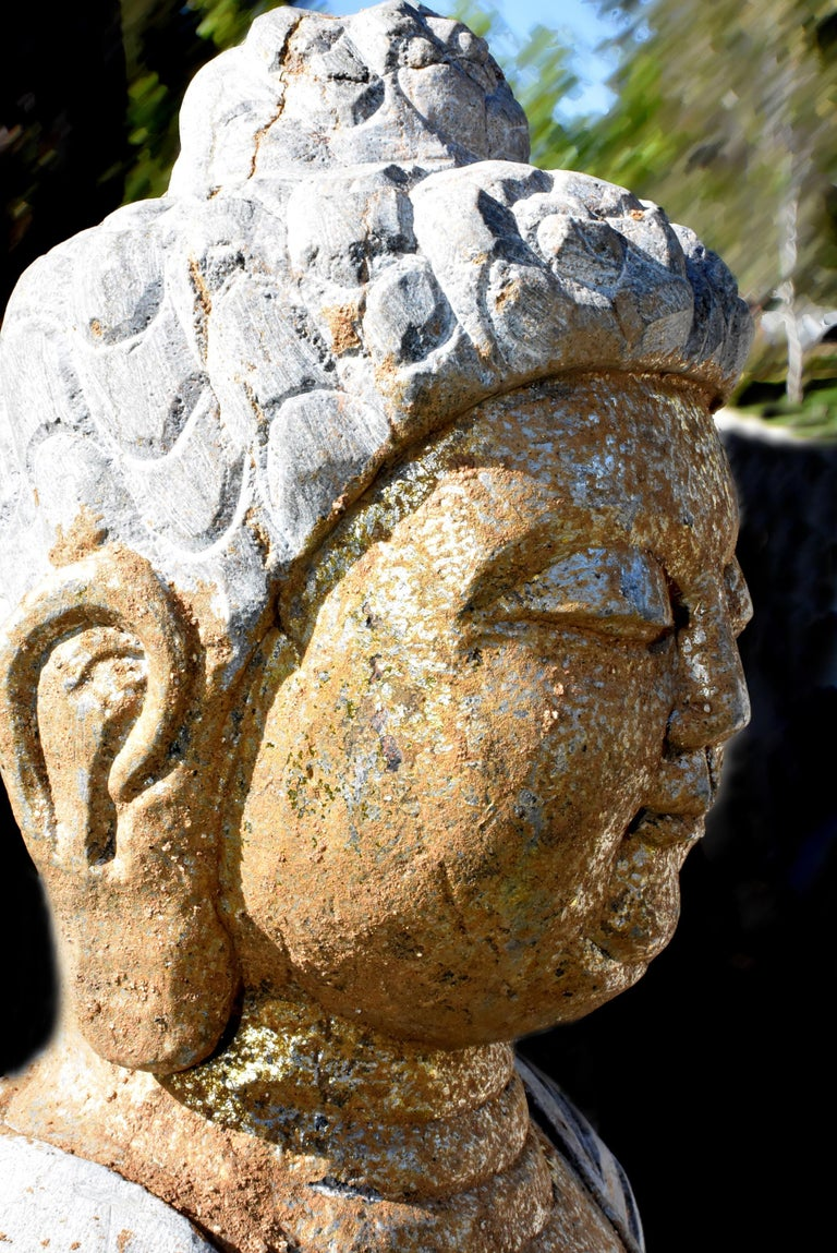 Golden Stone Buddha Statue on Lotus In Good Condition For Sale In Somis, CA