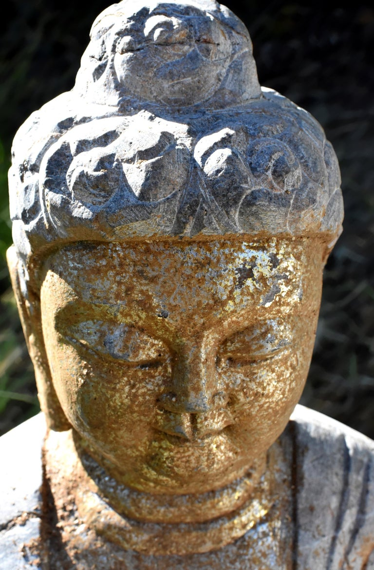 20th Century Golden Stone Buddha Statue on Lotus For Sale
