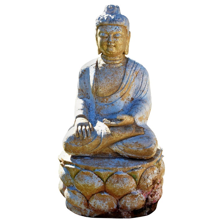 Golden Stone Buddha Statue on Lotus For Sale
