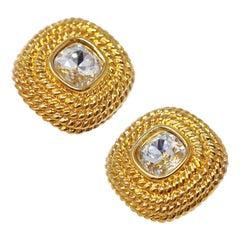 Gilded Swarovski Crystal Statement Earrings by Swarovski, Signed