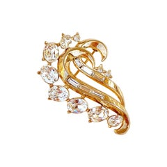 Gilded Swirl Brooch With Crystals By Alfred Philippe For Crown Trifari, 1953