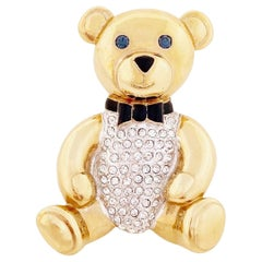 Gilded Teddy Bear Figural Brooch With Rhinestone Pavé By Carolee, 1990s