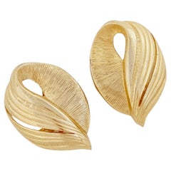 Gilded Textured Abstract Leaf Earrings, 1980s