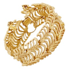 Gilded Textured Wavy Link Bracelet By Monet, 1960s