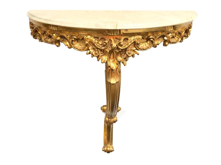 Mid-20th Century Gilded Toleware Wall Mount Console Hollywood Regency Style, Marble Plate Vintage For Sale