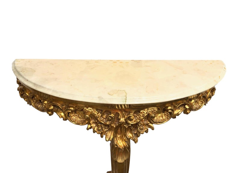 Wood Gilded Toleware Wall Mount Console Hollywood Regency Style, Marble Plate Vintage For Sale