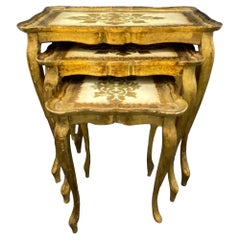 Gilded Wood Florentine Hollywood Regency Style Tole Set of Three Nesting Tables