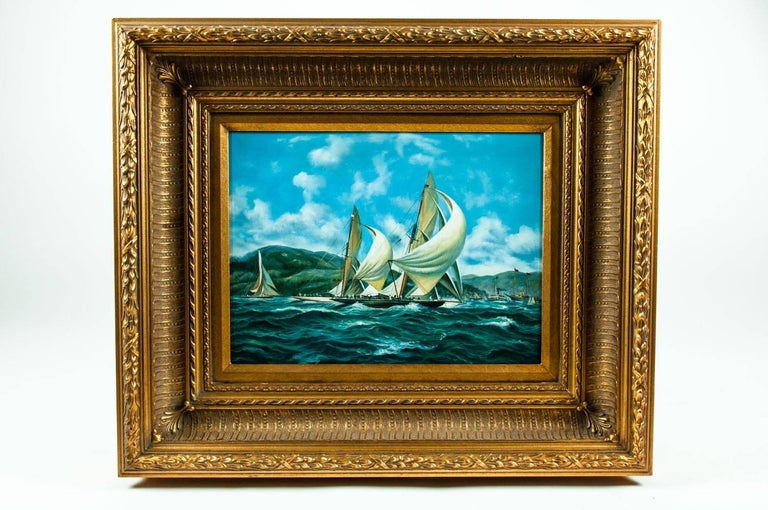 Gilded Wood Framed Oil on Canvas Painting For Sale 6