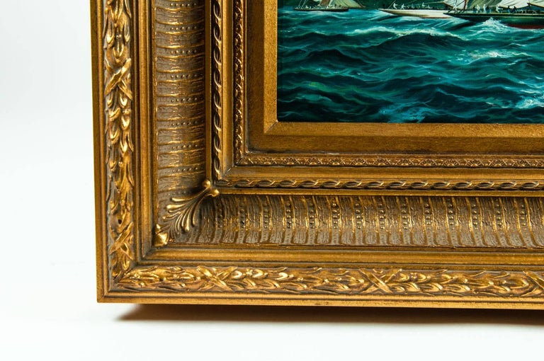 Gilded Wood Framed Oil on Canvas Painting For Sale 3