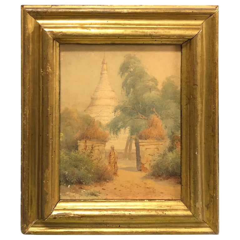 Gilded Wood Framed Orientalist Landscape Oil on Canvas, Italy, circa 1870 For Sale
