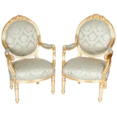Gilded Wood French Pair of Victorian Style Chairs