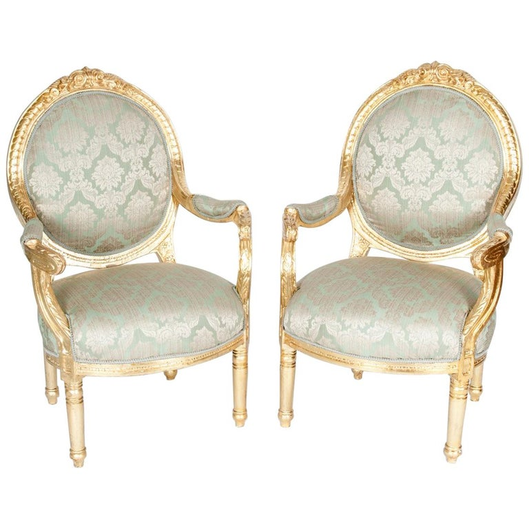Gilded Wood French Pair Of Victorian Style Chairs For Sale At 1stdibs