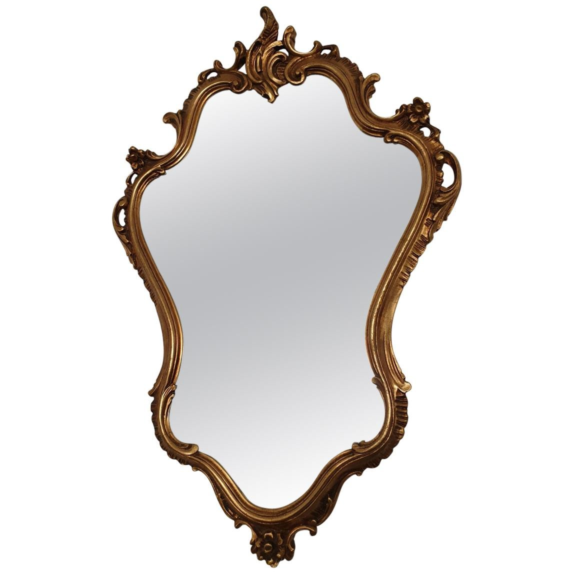 Gilded Wood Rococo Revival Style Mirror with Rocaille Crown