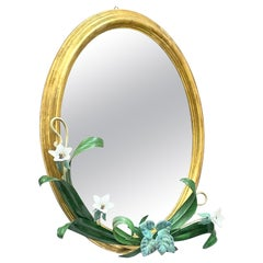 Gilded Wood Toleware Mirror with Metal Leaf and Glass Flowers Vintage Italy