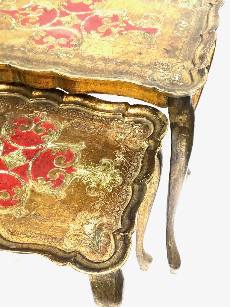 Gilt Gilded Wood Toleware Tole Set of two Nesting Tables Hollywood Regency Style For Sale