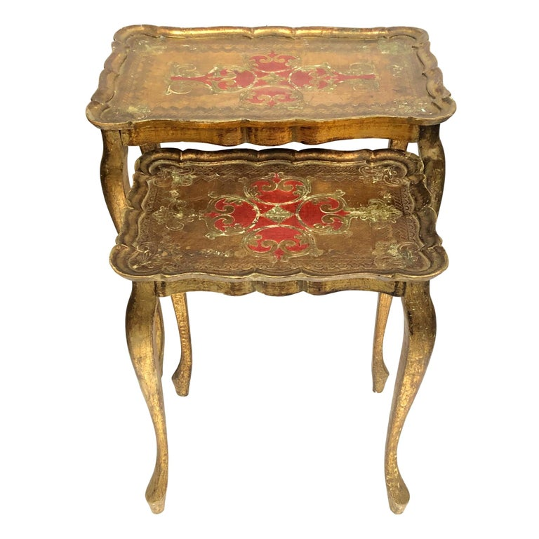 Gilded Wood Toleware Tole Set of two Nesting Tables Hollywood Regency Style For Sale