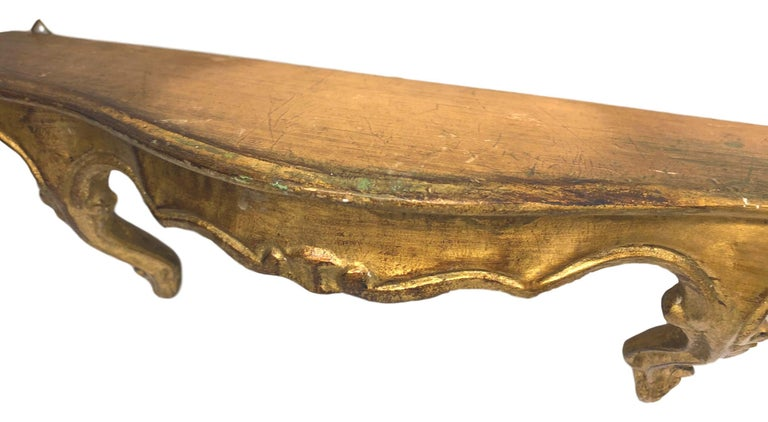 Italian Gilded Wood Toleware Wall Mount Console Hollywood Regency Style, Vintage Italy For Sale