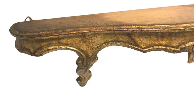 Gilt Gilded Wood Toleware Wall Mount Console Hollywood Regency Style, Vintage Italy For Sale