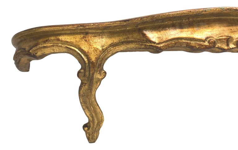 Gilded Wood Toleware Wall Mount Console Hollywood Regency Style, Vintage Italy In Good Condition For Sale In Nürnberg, DE