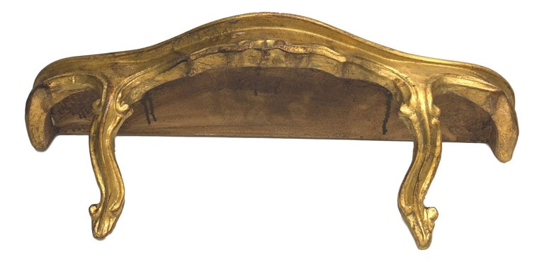 Composition Gilded Wood Toleware Wall Mount Console Hollywood Regency Style, Vintage Italy For Sale
