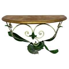 Gilded Wood Toleware Wall Mount Console Hollywood Regency Style, Vintage Italy