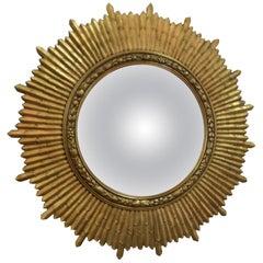 Gilded Wooden Sunburst Convex Mirror