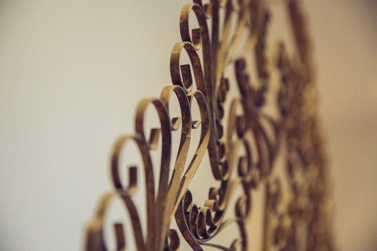 Gilded Wrought Iron Vintage Headboard For Sale 4
