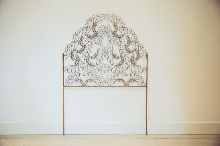Gilded Wrought Iron Vintage Headboard For Sale 5