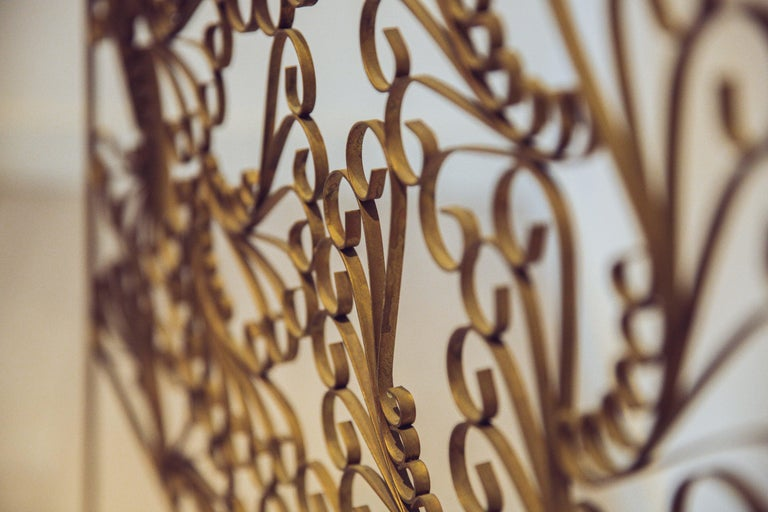 Mid-Century Modern Gilded Wrought Iron Vintage Headboard For Sale