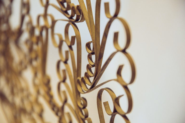 French Gilded Wrought Iron Vintage Headboard For Sale